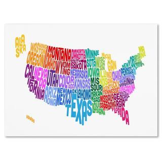 Michael Tompsett 'USA States Txt Map 3' Canvas Art