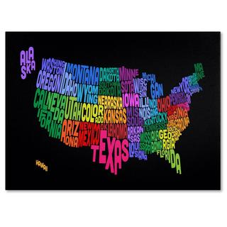 Michael Tompsett 'USA States Txt Map' Canvas Art
