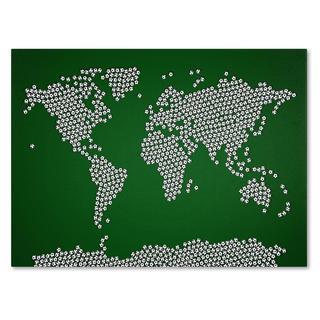 Michael Tompsett 'Soccer Balls World Map' Canvas Art