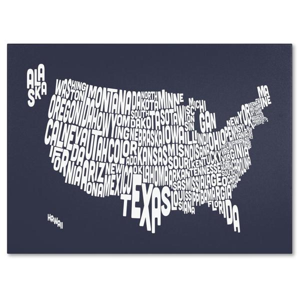 Michael Tompsett 'USA States Text Map in Slate' Canvas Art