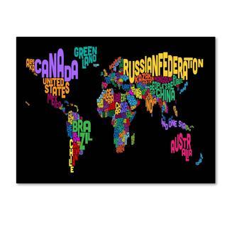 Michael Tompsett 'World Text Map 4' Canvas Art