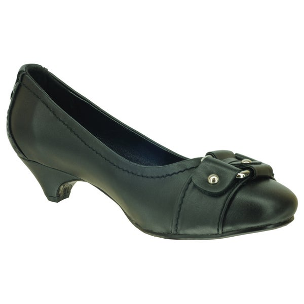 DimeCity Women's 'Buckle Pump' Black Kitten Heels (As Is Item)