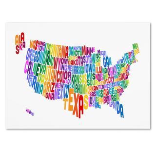 Michael Tompsett 'USA States Text Map 3' Canvas Art