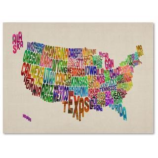 Michael Tompsett 'USA States Text Map' Canvas Art