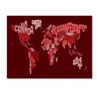Michael Tompsett 'World Text Map 3' Canvas Art