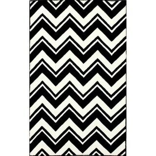 nuLOOM Handmade Modern Black/ White Chevron Rug (7'6 x 9'6)