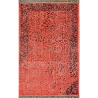nuLOOM Hand-knotted Vintage-inspired Overdyed Red Wool Rug (5' x 8')