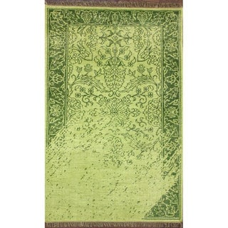 nuLOOM Hand-knotted Vintage-inspired Overdyed Green Wool Rug (5' x 8')