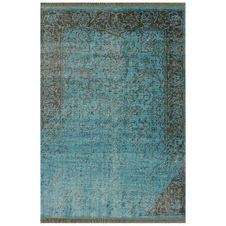 nuLOOM Hand-knotted Vintage-inspired Overdyed Turquoise Wool Rug (5' x 8')