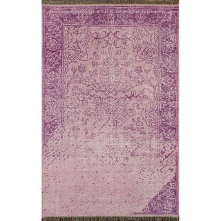 nuLOOM Hand-knotted Vintage-inspired Overdyed Lilac Wool Rug (5' x 8')
