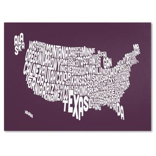 Michael Tompsett 'USA States Text Map in Mulberry' Canvas Art