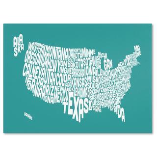 Michael Tompsett 'USA States Text Map in Turqoise' Canvas Art