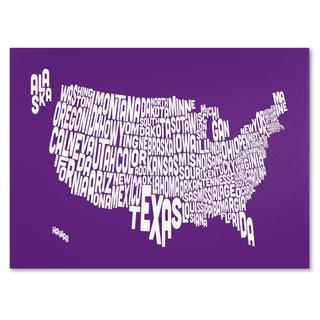 Michael Tompsett 'USA States Text Map in Purple' Canvas Art