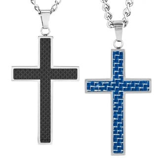 Stainless Steel Men's Carbon Fiber Inlay Cross Pendant Necklace