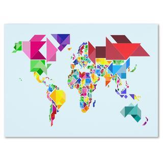 Michael Tompsett 'Tangram Worldmap' Canvas Art