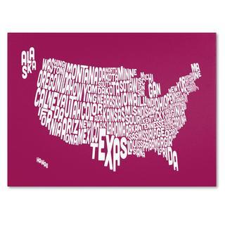 Michael Tompsett 'USA States Text Map in Raspberry' Canvas Art