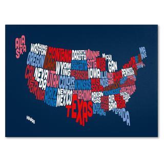 Michael Tompsett 'USA States Txt Map 2' Canvas Art