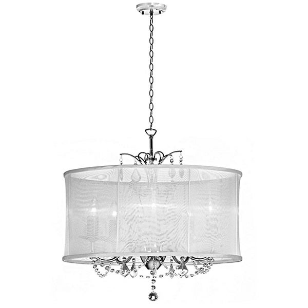 Crystal Chandelier With Drum Shade: White Silk Drum Shade 6-light Crystal Chandelier