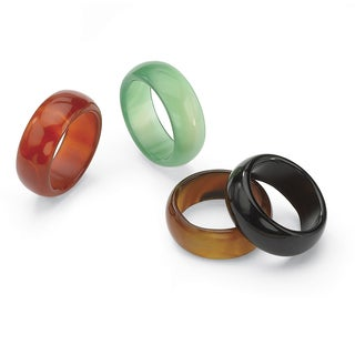 PalmBeach 4-Piece Multicolor Agate Ring Set Naturalist