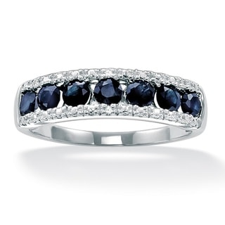 PalmBeach Platinum over Silver Sapphire and Diamond Accent Ring Diamonds & Gems