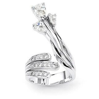 PalmBeach CZ Silvertone White Cubic Zirconia Ring Glam CZ