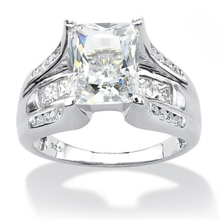 Ultimate CZ Platinum over Silver White Emerald-cut Cubic Zirconia Ring
