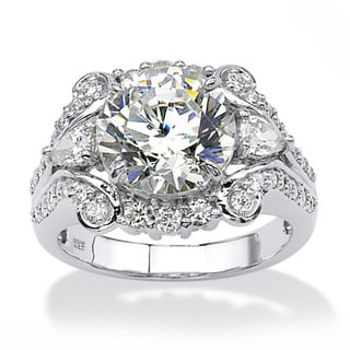 PalmBeach CZ Platinum over Silver Round- and Pear-cut Cubic Zirconia Ring Glam CZ