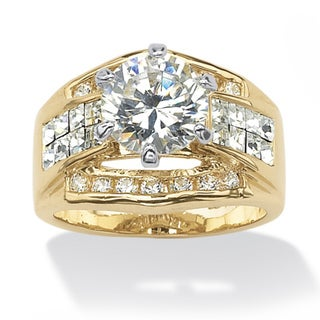 Ultimate CZ Gold Overlay White Cubic Zirconia and White Crystal Round and Cushion-cut Ring
