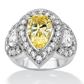 PalmBeach 5.83 TCW Pear Cut Canary-Color Cubic Zirconia Platinum-Plated Cocktail Ring Glam CZ