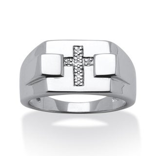 Isabella Collection Platinum over Silver Men's Diamond Accent Cross Ring