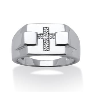 PalmBeach Platinum over Silver Men's Diamond Accent Cross Ring