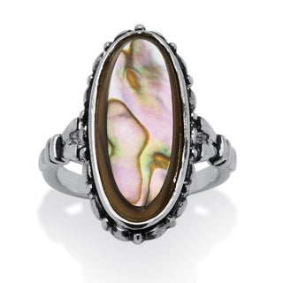 Angelina D'Andrea Silvertone Abalone Antiqued Ring