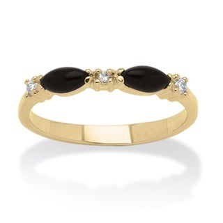 Angelina D'Andrea Gold Overlay Onyx and Crystal Ring