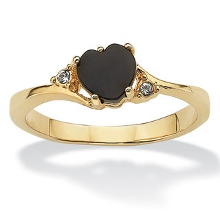 Heart-Shaped Genuine Onyx and Crystal Accent 14k Yellow Gold-Plated Ring Naturalist - Black