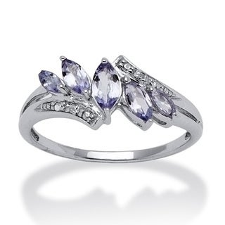 Angelina D'Andrea Platinum over Silver Tanzanite and Diamond Ring
