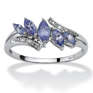 PalmBeach .76 TCW Marquise-Cut Genuine Purple Tanzanite with Diamond Accent Platinum over Sterling Silver Ring