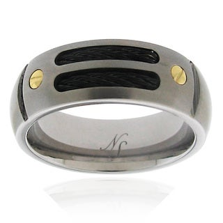 Men's Titanium Double Cable Band Ring