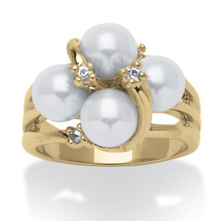 Angelina D'Andrea Gold Overlay Simulated Pearl and Crystal Ring