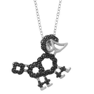 Fremada Sterling Silver Black Diamond Accent Poodle Dog Necklace