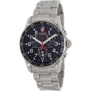 Victorinox Swiss Army Men's Classic Silver Stainless Steel Black Dial Quartz Watch