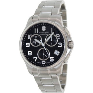 Victorinox Swiss Army Men's Silver Stainless Steel Black Dial Swiss Quartz Watch