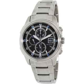 Citizen Men's 'Eco-Drive CA0370-54E' Silvertone Stainless Steel Black Dial Watch
