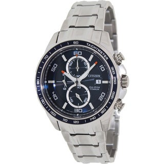 Citizen Men's 'Eco-Drive CA0345-51L' Silvertone Titanium Blue Dial Watch