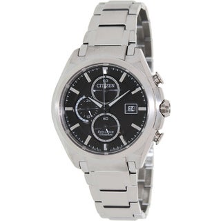 Citizen Men's 'Eco-Drive CA0350-51E' Silvertone Titanium Black Dial Watch