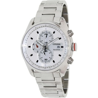 Citizen Men's 'Eco-Drive CA0360-58A' Silvertone Stainless Steel White Dial Watch