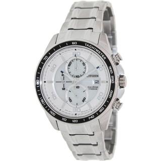 Citizen Men's 'Eco-Drive CA0340-55A' Silvertone Titanium White Dial Watch