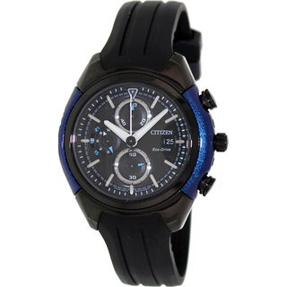 Citizen Men's 'Eco-Drive CA0288-02E' Black Rubber Black/ Blue Dial Watch