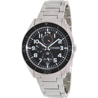 Citizen Men's Eco-Drive Black Dial Stainless Steel Watch