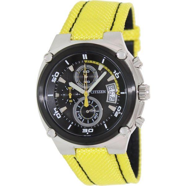 Citizen Men's Yellow/ Black Nylon Strap Chronograph Watch