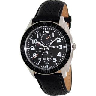 Citizen Men's Eco-Drive Black Leather Strap Watch